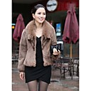Long Sleeve Belted Rabbit Fur Office/Casual Jacket With Turndown Collar