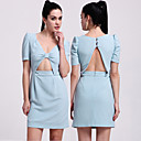 TS Cut Out Puff Sleeve Party Dress