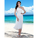 Sheath/Column One Shoulder Tea-length Chiffon Wedding Dress