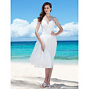 Sheath/Column Sweetheart Knee-length Organza Wedding Dress