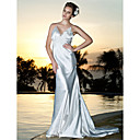 Sheath/Column V-neck Court Train Elastic Silk-like Satin Wedding Dress