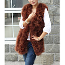 Collarless Sleeveless Ostrich Fur Office/Career/Casual Vest (More Colors)