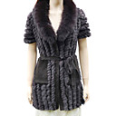 Women's Knit Cardigan With Genuine Rabbit Fur And Fox Fur Collar