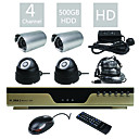 Entry-Level All-in-one 4CH DVR Kit (500G Hard Disk, H.264)