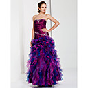 A-line Strapless Floor-length Taffeta Organza Evening Dress