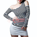 Sloping Cut Out Shoulder Black-White Stripe Shirt