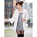 Collarless Long Sleeve Rabbit Fur Office/Casual Coat (More Colors)