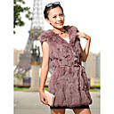 Rabbit Fur Clasp Front Party/Casual Hooded Vest With Belt (More Colors)