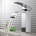 Contemporary Waterfall Bathroom Sink Faucet - Chrome Finish