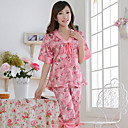 1/2 Sleeve Copy Silk Pajamas With V-Neck