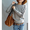 Leopard Splice Sleeve Round Neck Knit Shirt
