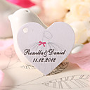 Personalized Heart Shaped Favor Tag - Wedding Dress (Set of 60)