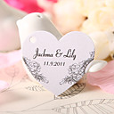 Personalized Heart Shaped Favor Tag - Elegant Flowers (Set of 60)