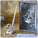 Double Hearts Wedding Pen Set In Resin