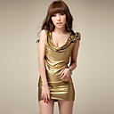 Attractive Woman Gold Party Dress