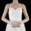 Tulle Wrist Length Fingertips Bridal Gloves With Rhinestone