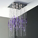 8 - Lights Crystal Flush Mount in Square with Purple Decoration (G9 Bulb Base)