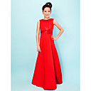A-line Jewel Floor-length Satin Junior Bridesmaid Dress