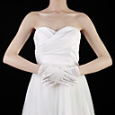 Cotton Wrist Length Fingertips Bridal Gloves With Bow / Pearls(More Colors)
