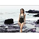 Polyester Spandex One Piece Halter Swimsuit