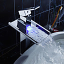 Sprinkle by Lightinthebox - Color Changing LED Waterfall Bathroom Sink Faucet (Tall)