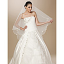 One-tier Tulle Pearl Trim Edge Waltz Wedding Veil With Pearls