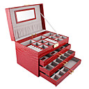 MultipleGrid  Alligatoring Leatherette Ladies'Jewelry Box(More Colors)
