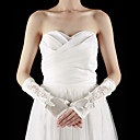 Satin / Lace Fingerless Elbow Length With Appliques / Pearls Bridal Gloves (More Colors)