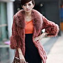 Raccoon Fur Collar Long Sleeve Party/ Office Rabbit Fur Coat (More Colors)