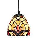 60W Glass Tiffany Pendant Light with 1 Light Floral Pattern