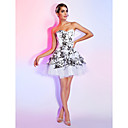 A-line Sweetheart Strapless Short/Mini Pattern/Print Satin Cocktail Dress