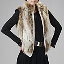 Standing Collar Evening/ Career High Quality Faux Fur Veat With Pockets