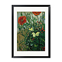 "Botanical Floral and Animal Poppies and Butterfly by Vincent Van Gogh 15"" x 21"""