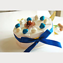 Ivory Card Paper Wedding Favor Boxes With Blue Ribbon (Set of 10)