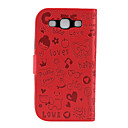 Cute Faerie Pattern PU Leather Wallet Case for Samsung Galaxy S3 I9300 (Red)