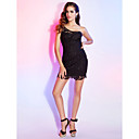 Sheath/Column One Shoulder Short/Mini Lace Cocktail Dress