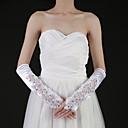 Satin Fingertips Elbow Length Bridal Gloves With Beading (More Colors)