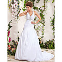A-line Halter Chapel Train Beading Side-Draped Wedding Dress