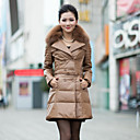 Long Sleeve Fox Fur Collar Lambskin Leather Coat with Down(More Colors)