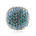 Charming Platinum Plated Round Blue Crystal Ring