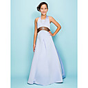 A-line Halter Floor-length Satin Junior Bridesmaid Dress