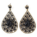 Hollow Water-Drop Style Retro Earrings for Women (Black)