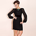 TS Bateau Neck Puff Sleeve Sheath Dress
