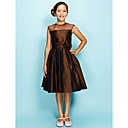 A-line Jewel Knee-length Organza Over Taffeta Junior Bridesmaid Dress
