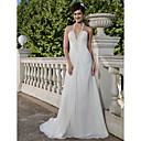 A-line Halter Court Train Chiffon Wedding Dress