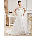 A-line Strapless  Court Train Satin Wedding Dress With A Wrap