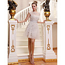 A-line Jewel Short Mini Tulle Over Chiffon Luxurious Dresses