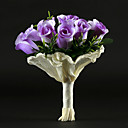 Round Shape Purple Satin Rose Wedding Bridal Bouquet