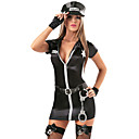 Hete Sexy Zwarte Politie Dress Kostuum van Halloween (5 stuks)