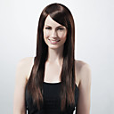 Capless Long Straight Brown Synthetic Wig Side Bang